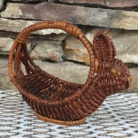 Vintage Wicker Rabbit Basket Easter Bunny Boho
